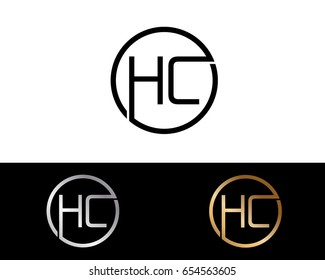 Hc Logo. Letter Design Vector with Red and Black Gold Silver Colors