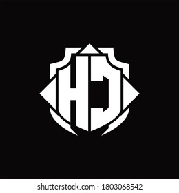 HC logo monogram with shield line and 3 arrows shape design template on black background