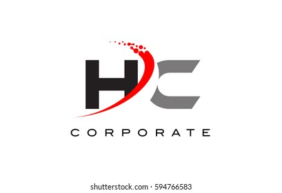 HC Modern Letter Logo Design with Red Swoosh and Dots