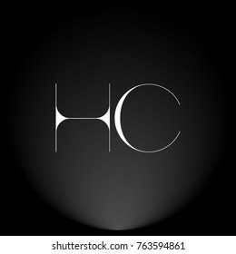 HC White thin minimalist LOGO Design with Highlight on Black Background.