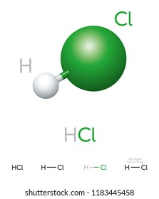 HCl. Hydrogen chloride. Molecule model, chemical formula, ball-and-stick model, geometric structure and structural formula. Hydrogen halide. Hydrochloric acid. Illustration on white background. Vector