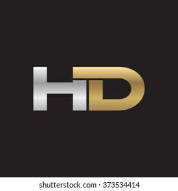 HD company linked letter logo golden silver black background