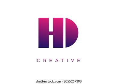 HD or DH Combination letter creative color alphabet company logo vector icon design