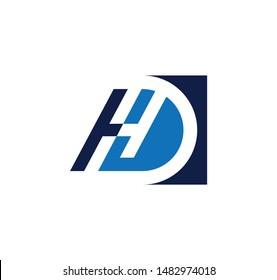 HD or DH letter logo design