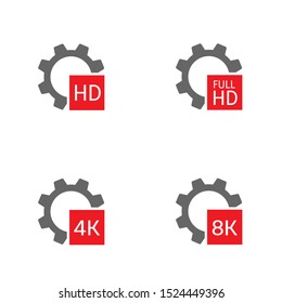 HD Full HD 4K 8K format icons. Gear sign icon set, Vector