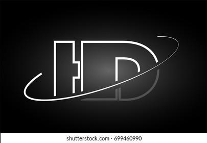 HD H D letter logo combination black white alphabet vector creative company icon design template modern