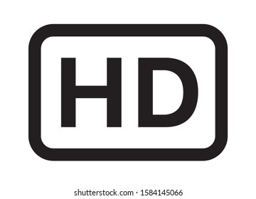 HD / high definition video image resolution or media badge label line art vector icon for apps and websites