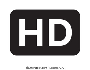 HD / high definition video image resolution or media badge label flat vector icon for apps and websites