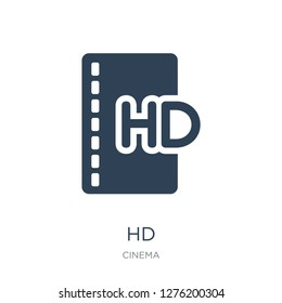 hd icon vector on white background, hd trendy filled icons from Cinema collection, hd vector illustration