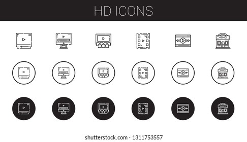 hd icons set. Collection of hd with video player, cinema. Editable and scalable hd icons.