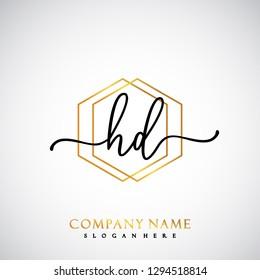 HD Initial Handwriting logo template vector
