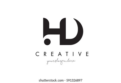 HD Letter Logo Design with Creative Modern Trendy Typography and Black Colors.