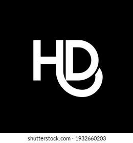 HD letter logo design on black background. HD creative initials letter logo concept. hd letter design. HD white letter design on black background. H D, h d logo