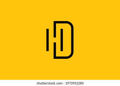 HD letter logo design on luxury background. DH monogram initials, letter logo concept. HD icon design. DH elegant and Professional black color letter icon design on background.
