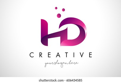 HD Letter Logo Design Template with Purple Colors and Dots