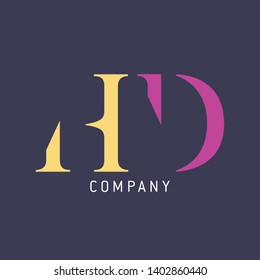 HD logo design. Company logo. Monogram logo letters H and D