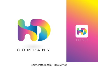 HD Logo Letter With Rainbow Vibrant Colors. Colorful Modern Trendy Purple and Magenta Letters Vector Illustration.