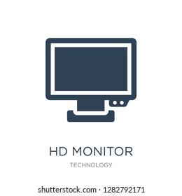 hd monitor icon vector on white background, hd monitor trendy filled icons from Technology collection, hd monitor vector illustration