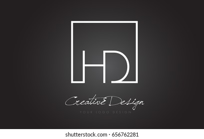 HD Square Framed Letter Logo Design Vector with Black and White Colors.
