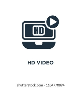 HD Video icon. Black filled vector illustration. HD Video symbol on white background. Can be used in web and mobile.
