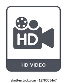 hd video icon vector on white background, hd video trendy filled icons from Cinema collection, hd video vector illustration