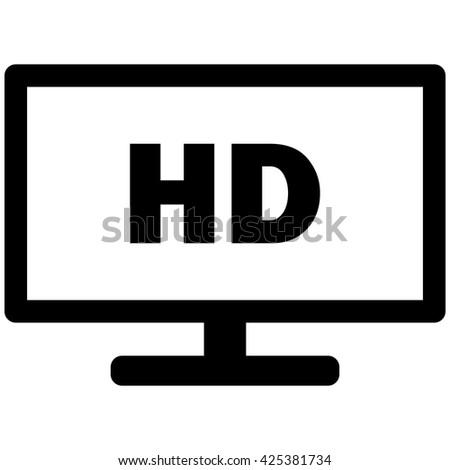 HD Widescreen TV Vector Icon Stock Vector (Royalty Free