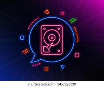 HDD icon. Neon laser lights. Hard disk storage sign. Hard drive memory symbol. Glow laser speech bubble. Neon lights chat bubble. Banner badge with hDD icon. Vector