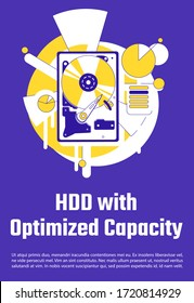 HDD with optimized capacity poster flat silhouette vector template. Data storage hardware brochure, booklet one page concept design with cartoon characters. Hard drive flyer, leaflet with text space