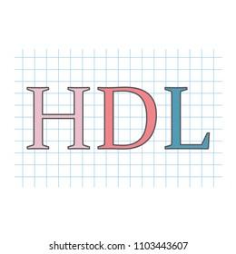 HDL (High-density lipoprotein) written on checkered paper sheet- vector illustration