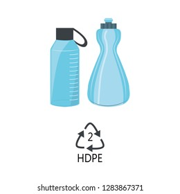 HDPE 2 plastic type - blue high-density polyethylene bottles with recycle triangle arrow sign in flat style isolated on white background. Vector illustration of polythene products.