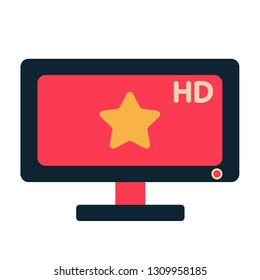 HDTV with star symbol in screen vector illustration in flat color design