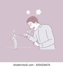 He is being scolded by his boss. hand drawn style vector doodle design illustrations.