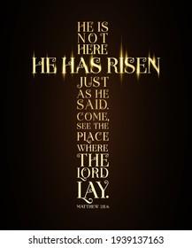 He has Risen Easter Sunday cross typography vector illustration