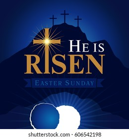 He is risen card. Easter christian motive, with text He is risen on on a background of rolled away from the tomb stone of Calvary