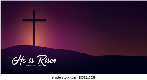 He is Risen. Celebrate the savior. Easter Church banner with cross, christian motive. Vector illustration.