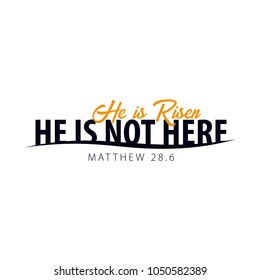 He is Risen. Church easter logo, emblem, labels or stickers. Vector graphics