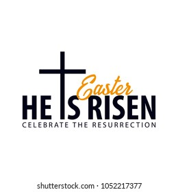 He is Risen. Church easter logo, emblem, labels or stickers with cross. Vector graphics.