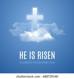 He is risen. Easter banner background with clouds. Vector illustration