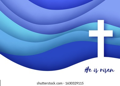 He Is Risen. Easter Banner. Christian cross in paper cut style on blue background.