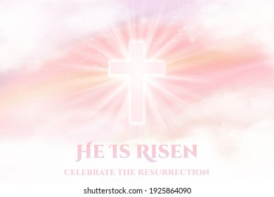 He Is Risen - Easter banner. Christian religious background with dawn heaven and white clouds and shining Cross. Vector illustration design template for greeting card, banner or flyer