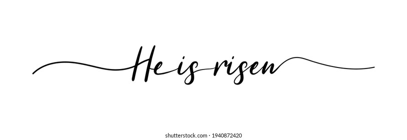 He is risen lettering. Christian typography poster. Easter poster. Easter lettering. Vector