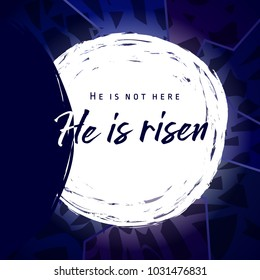 He is risen, He is not here. Invitation vector blue color template. Open lighting empty cave shining angel inside. Religious greetings. Jesus up from dead. Light in the end of tunnel. Isolated element