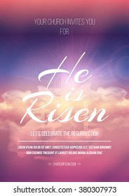 He is risen, vector Easter religious poster template with transparency and gradient mesh.