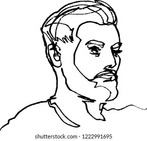 He, young man face, with modern beard and hairstyle, continuous line, drawing of head, black liner