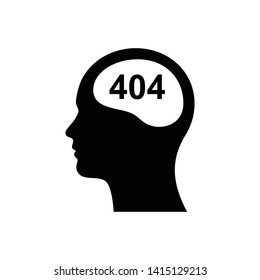 Head with 404 brain icon. brain not found logo.illustration of  stupid, foolish and empty-headed person with lack of intelligence and iq.