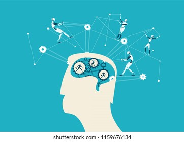 Head of abstract businessmen and future nanotechnology controlling his thinking process. Future reality, since and technology concept