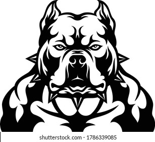 Head of Aggressive American Bully Dog