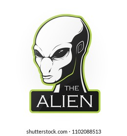 Head of alien on a white background. Vector illustration  with room for text.