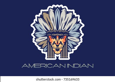 The head of an American Indian war bonnet, vector on blue background