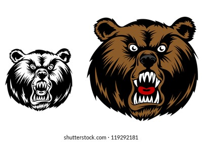 Head of angry bear for mascot design. Jpeg version also available in gallery
